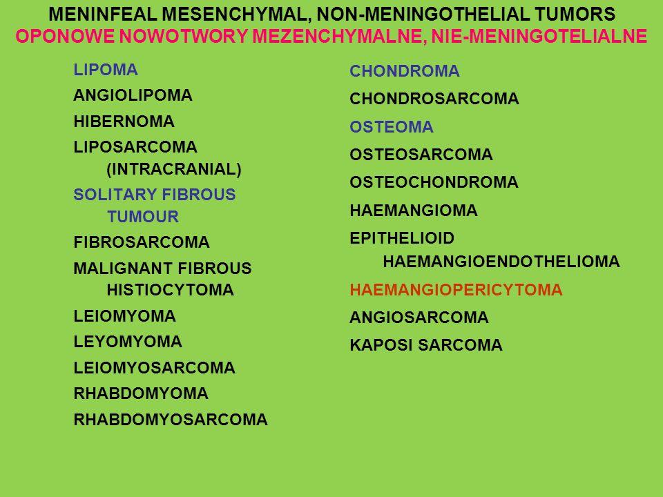 MENINFEAL MESENCHYMAL, NON-MENINGOTHELIAL TUMORS OPONOWE NOWOTWORY MEZENCHYMALNE, NIE-MENINGOTELIALNE
