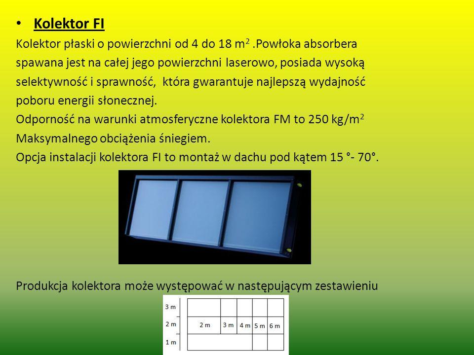 Kolektor FI Kolektor płaski o powierzchni od 4 do 18 m2 .Powłoka absorbera. spawana jest na całej jego powierzchni laserowo, posiada wysoką.