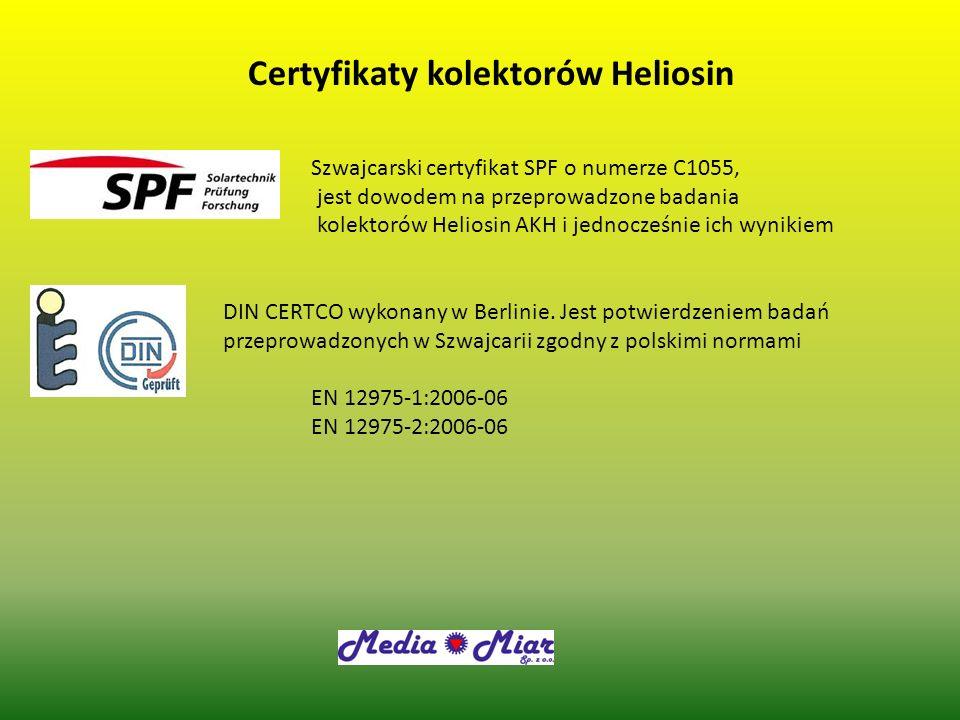 Certyfikaty kolektorów Heliosin