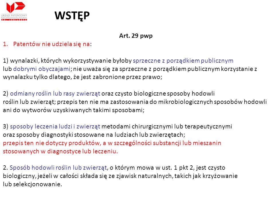 WSTĘP Art. 29 pwp Patentów nie udziela się na: