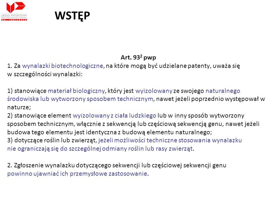 WSTĘP Art. 932 pwp. 1. Za wynalazki biotechnologiczne, na które mogą być udzielane patenty, uważa się.