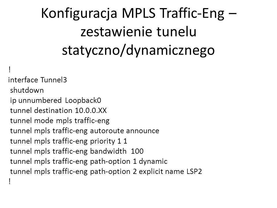 Konfiguracja MPLS Traffic-Eng – zestawienie tunelu statyczno/dynamicznego