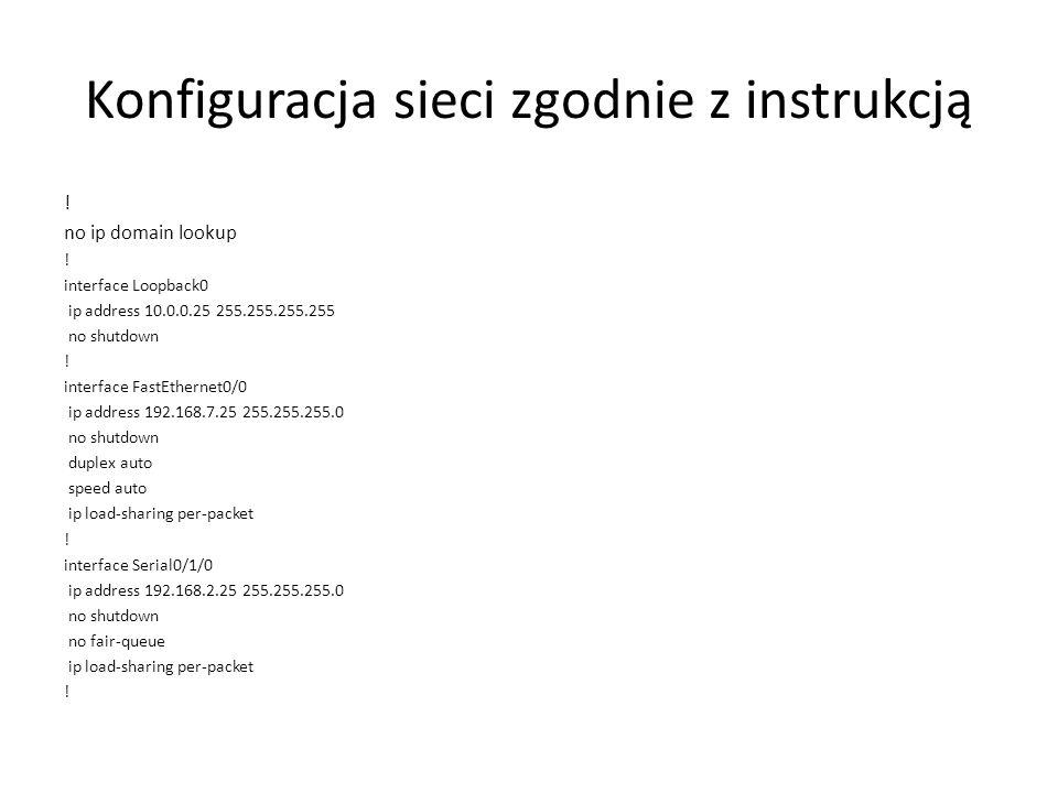 Konfiguracja sieci zgodnie z instrukcją