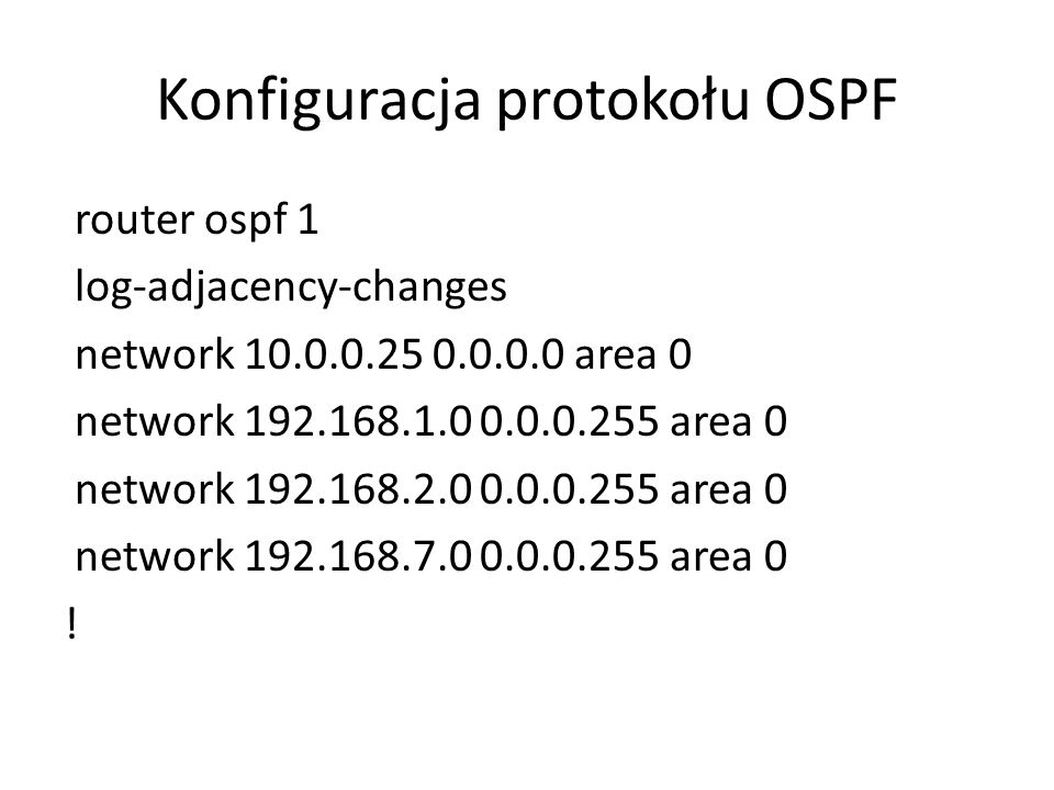 Konfiguracja protokołu OSPF