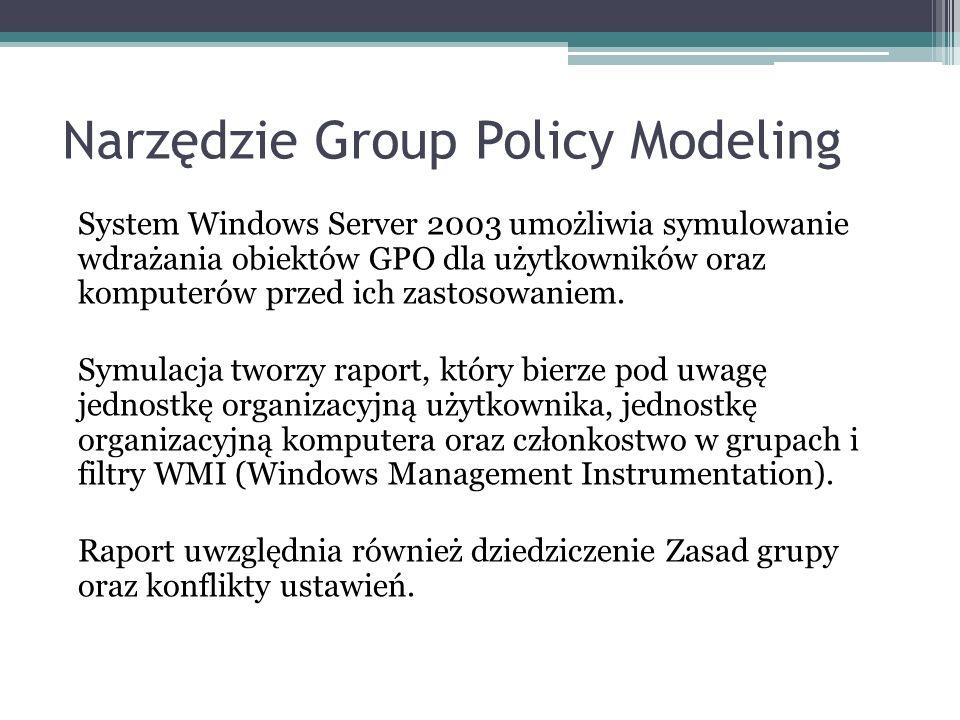 Narzędzie Group Policy Modeling