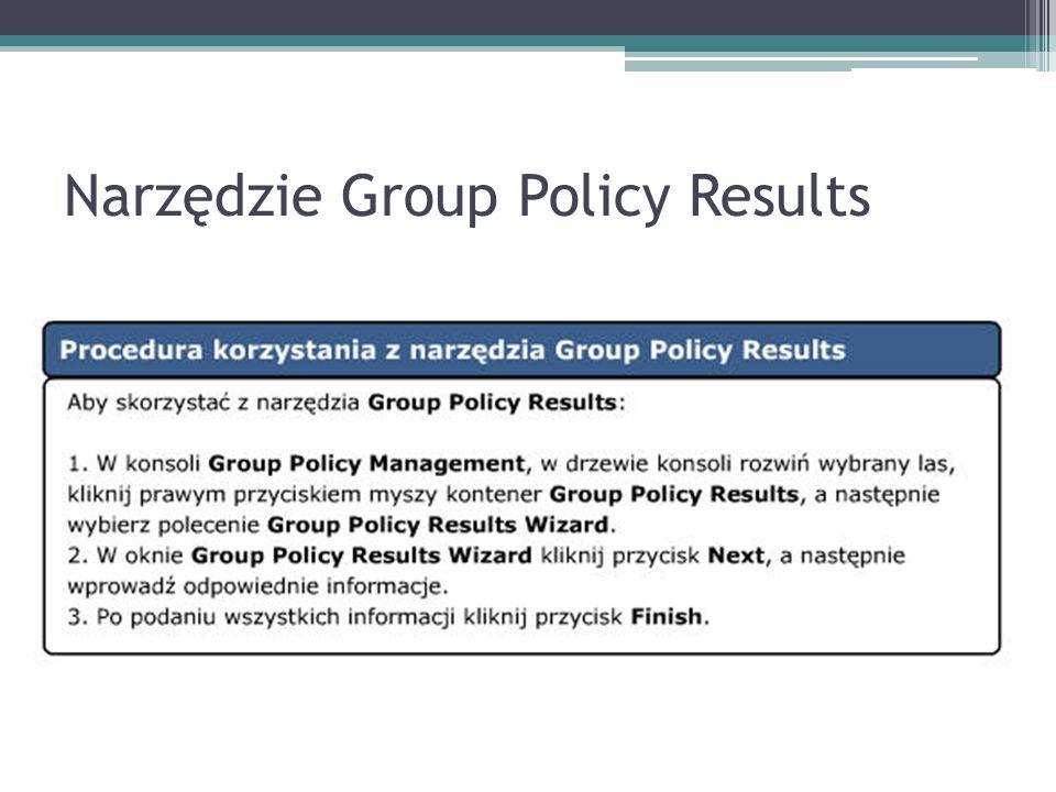 Narzędzie Group Policy Results