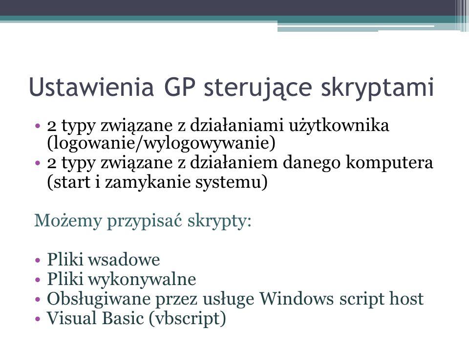 Ustawienia GP sterujące skryptami