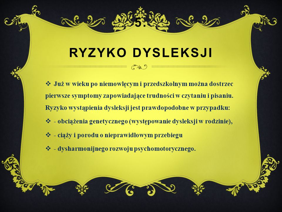 5. ryzyko dysleksji