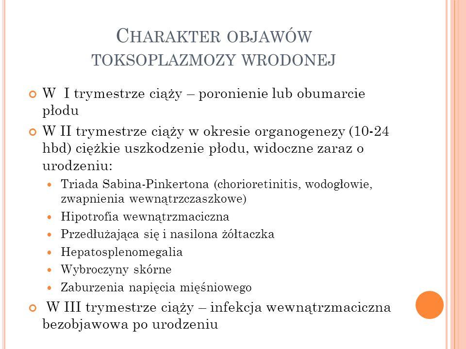 Charakter objawów toksoplazmozy wrodonej