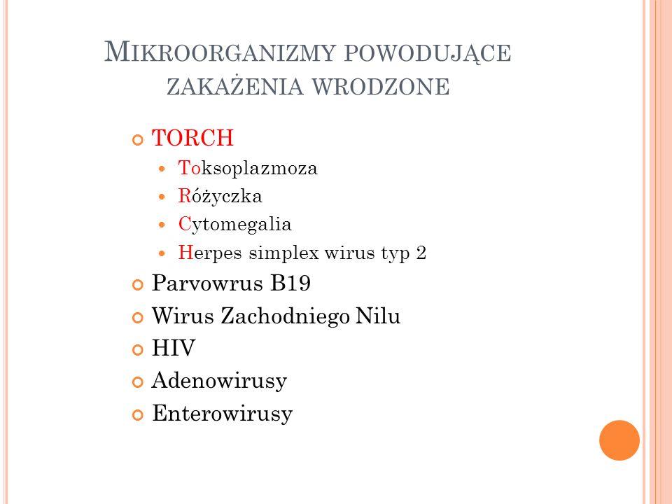Mikroorganizmy powodujące zakażenia wrodzone