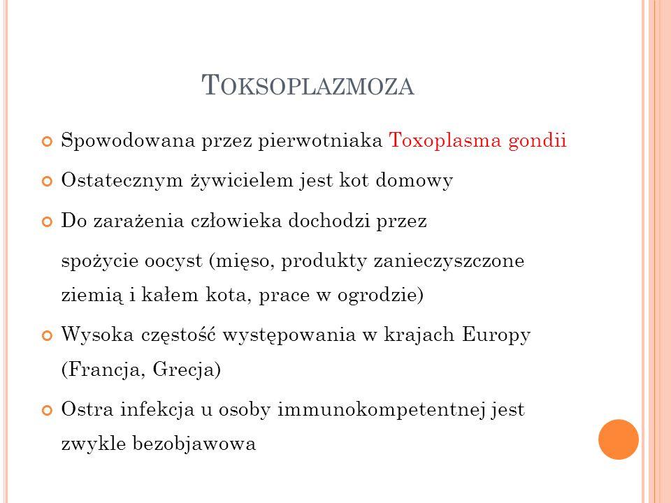 Toksoplazmoza Spowodowana przez pierwotniaka Toxoplasma gondii