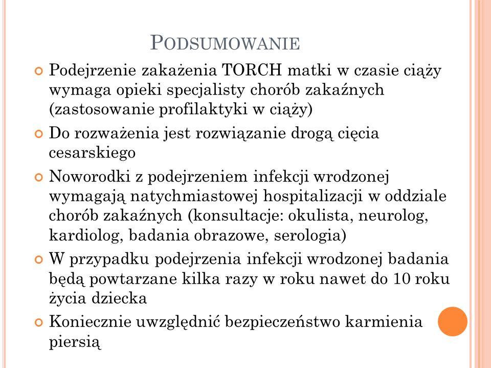 Podsumowanie Podejrzenie zakażenia TORCH matki w czasie ciąży wymaga opieki specjalisty chorób zakaźnych (zastosowanie profilaktyki w ciąży)