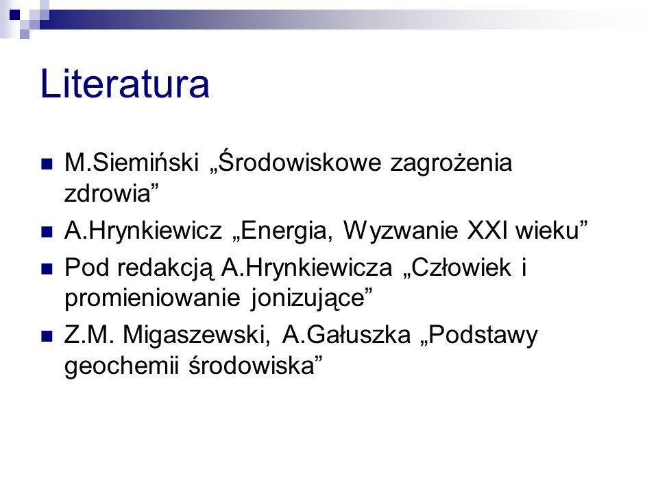 """Literatura M.Siemiński """"Środowiskowe zagrożenia zdrowia"""