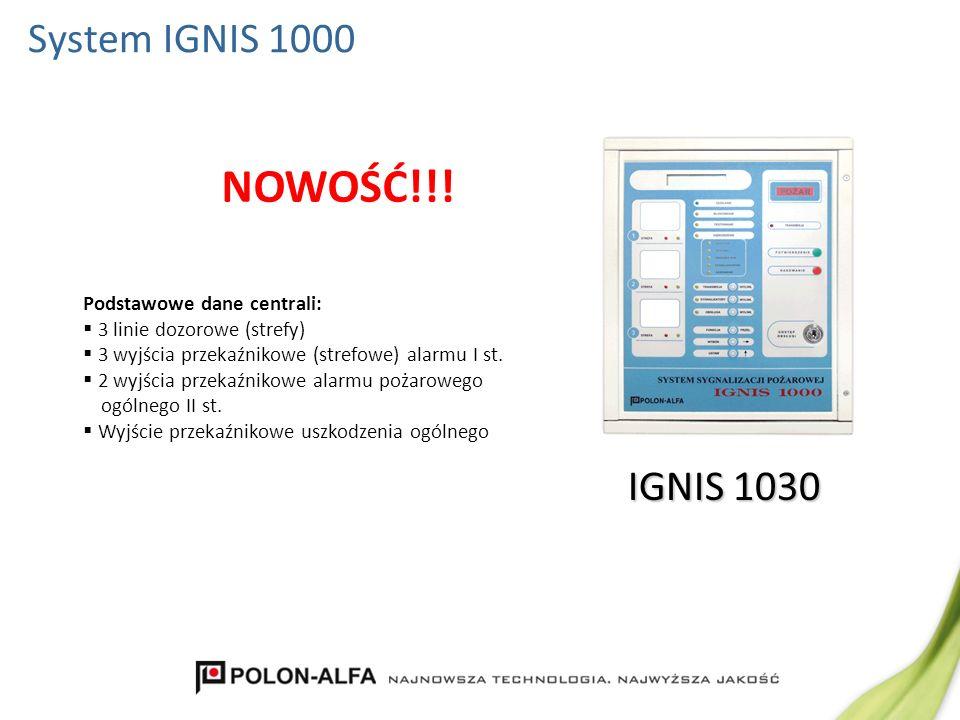 NOWOŚĆ!!! System IGNIS 1000 IGNIS 1030 Podstawowe dane centrali: