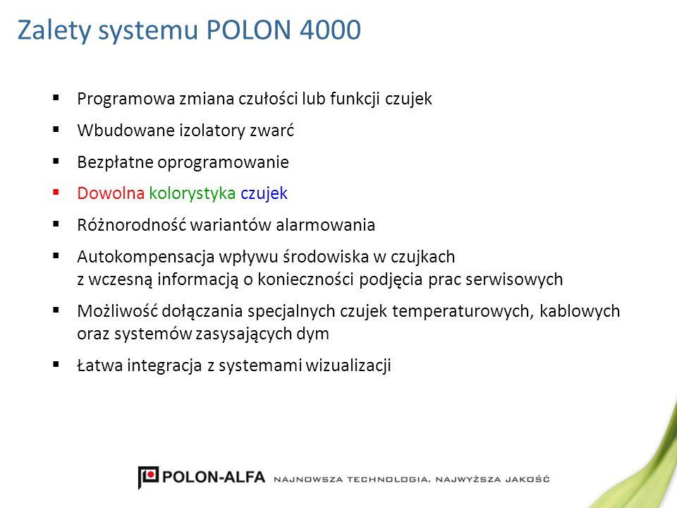 Zalety systemu POLON 4000 Programowa zmiana czułości lub funkcji czujek. Wbudowane izolatory zwarć.