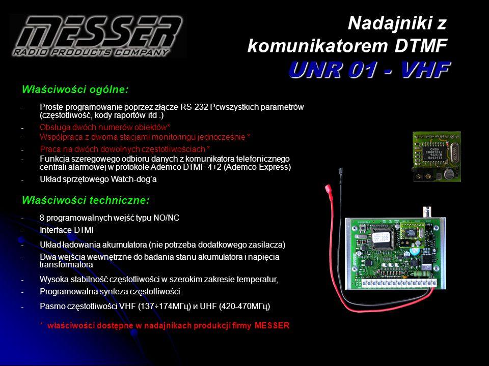 Nadajniki z komunikatorem DTMF UNR 01 - VHF