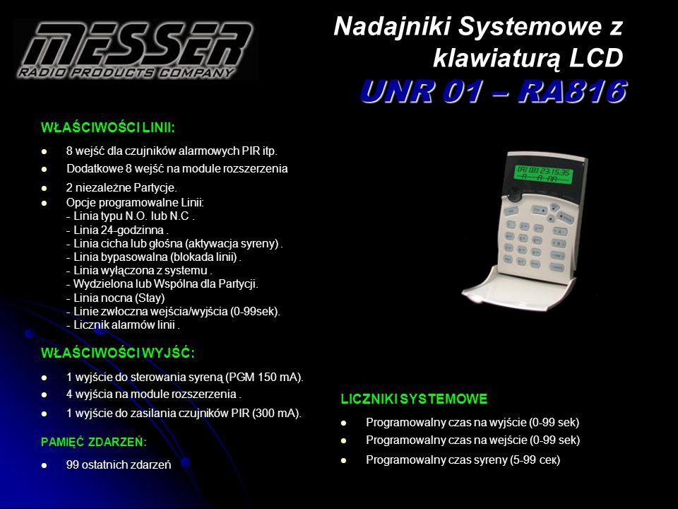 Nadajniki Systemowe z klawiaturą LCD UNR 01 – RA816