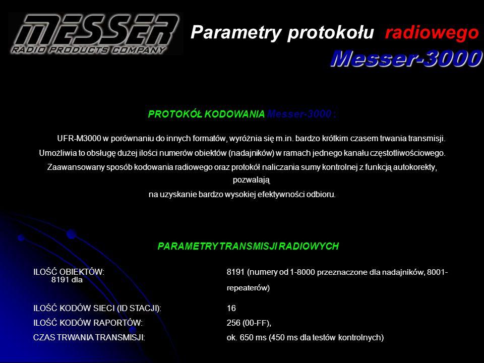 Parametry protokołu radiowego Messer-3000