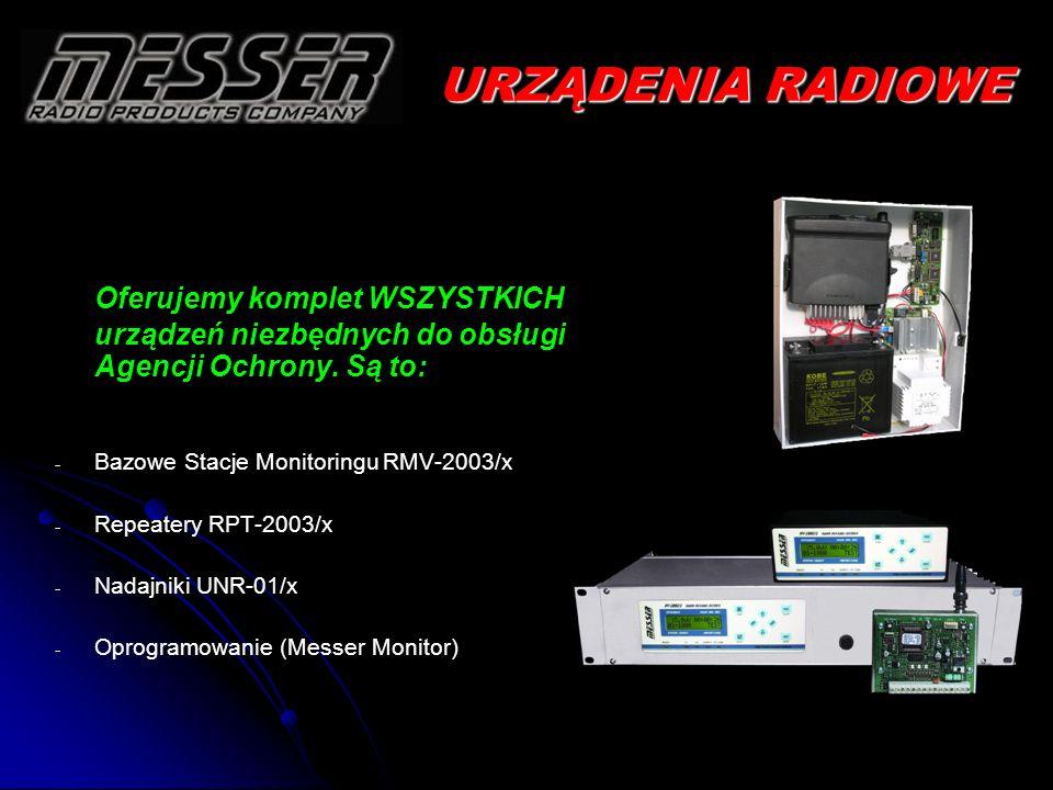 URZĄDENIA RADIOWE Oferujemy komplet WSZYSTKICH urządzeń niezbędnych do obsługi Agencji Ochrony. Są to: