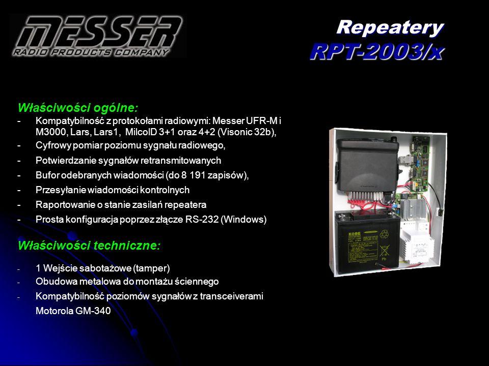 Repeatery RPT-2003/x Właściwości ogólne: Właściwości techniczne: