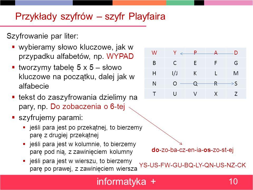 Przykłady szyfrów – szyfr Playfaira
