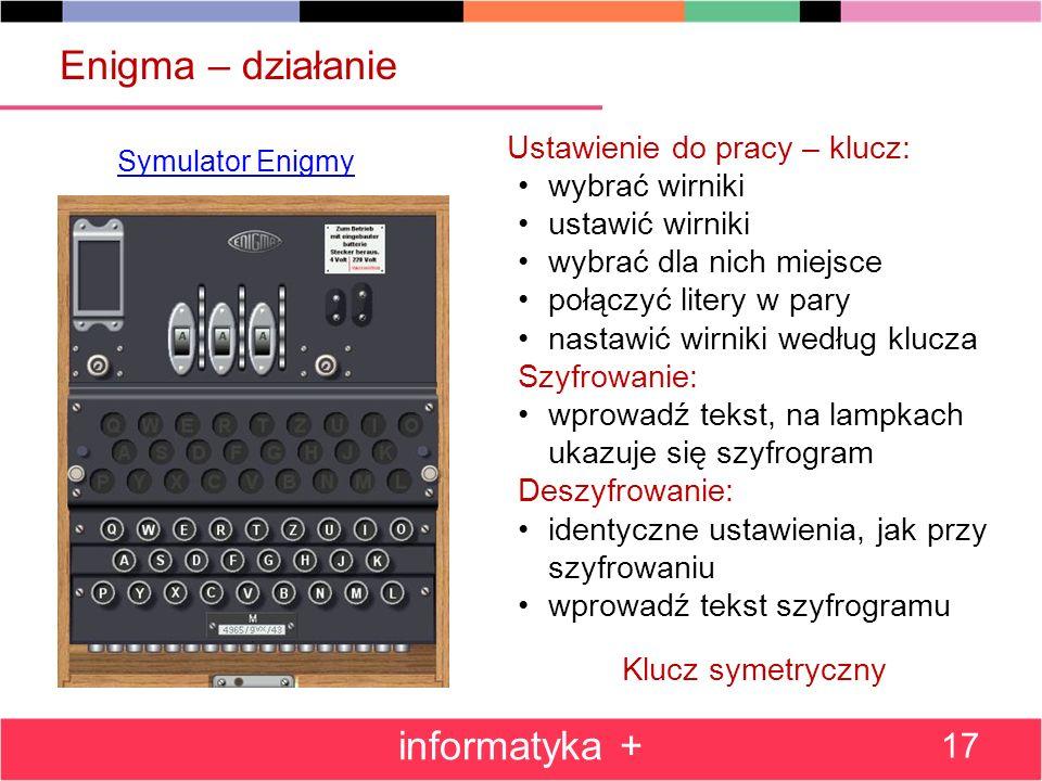 Enigma – działanie informatyka + Ustawienie do pracy – klucz: