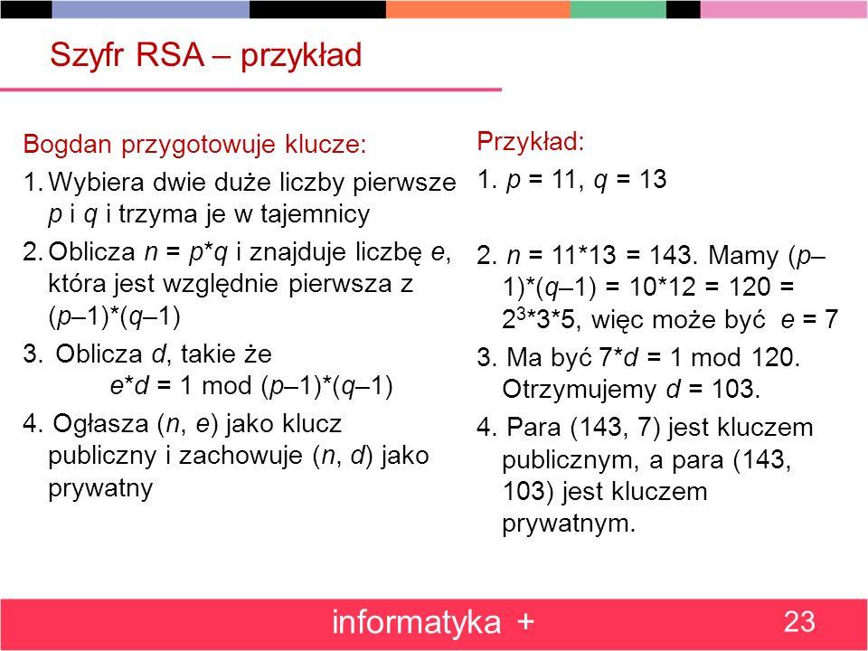 Szyfr RSA – przykład informatyka + Przykład:
