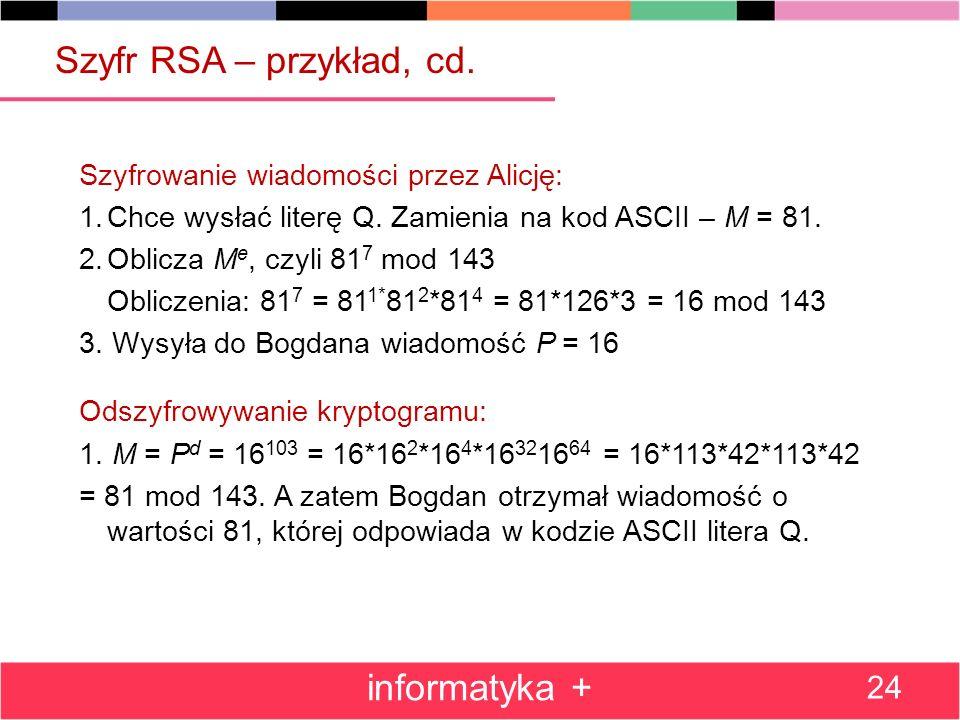Szyfr RSA – przykład, cd. informatyka +