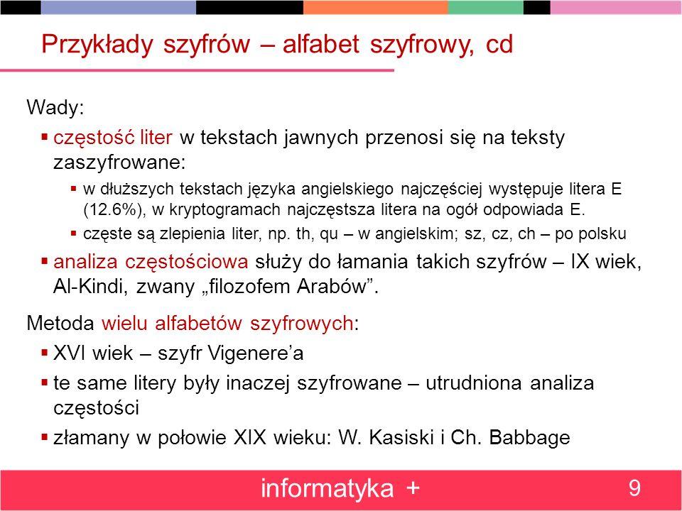 Przykłady szyfrów – alfabet szyfrowy, cd