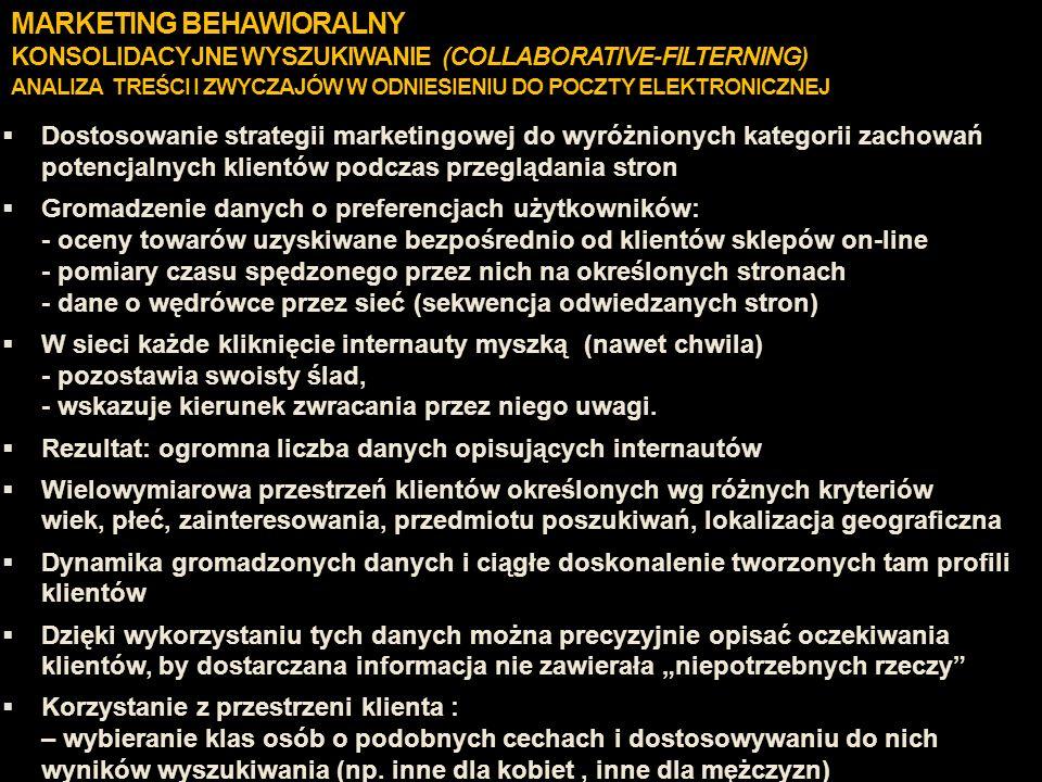 MARKETING BEHAWIORALNY KONSOLIDACYJNE WYSZUKIWANIE (COLLABORATIVE-FILTERNING) ANALIZA TREŚCI I ZWYCZAJÓW W ODNIESIENIU DO POCZTY ELEKTRONICZNEJ