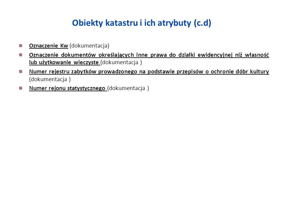Obiekty katastru i ich atrybuty (c.d)