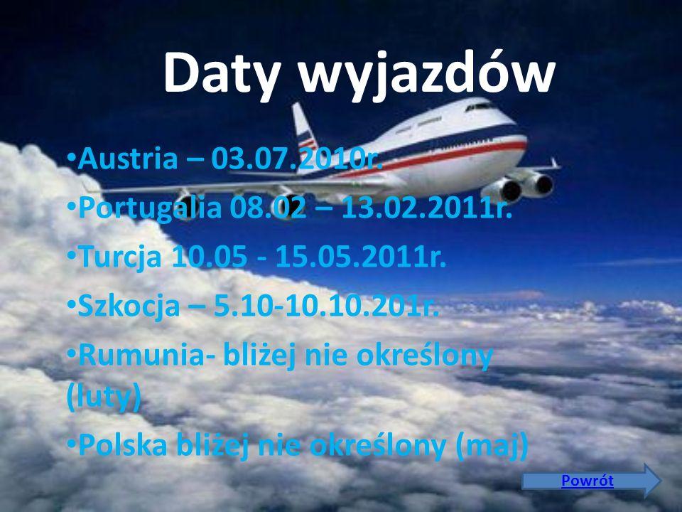 Daty wyjazdów Austria – 03.07.2010r. Portugalia 08.02 – 13.02.2011r.