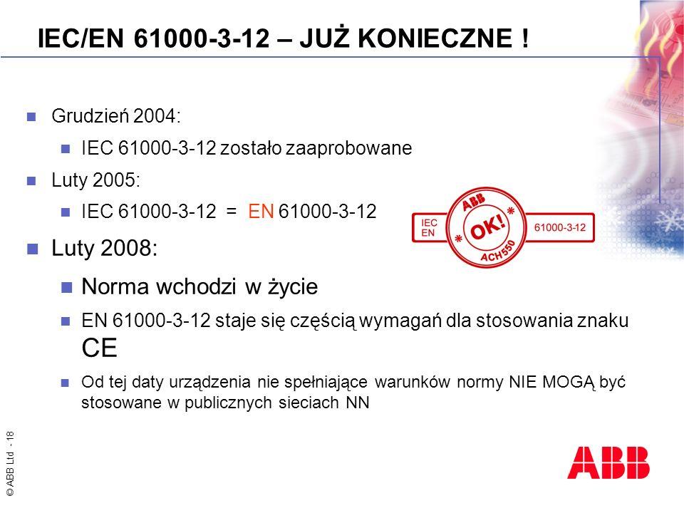 IEC/EN 61000-3-12 – JUŻ KONIECZNE !