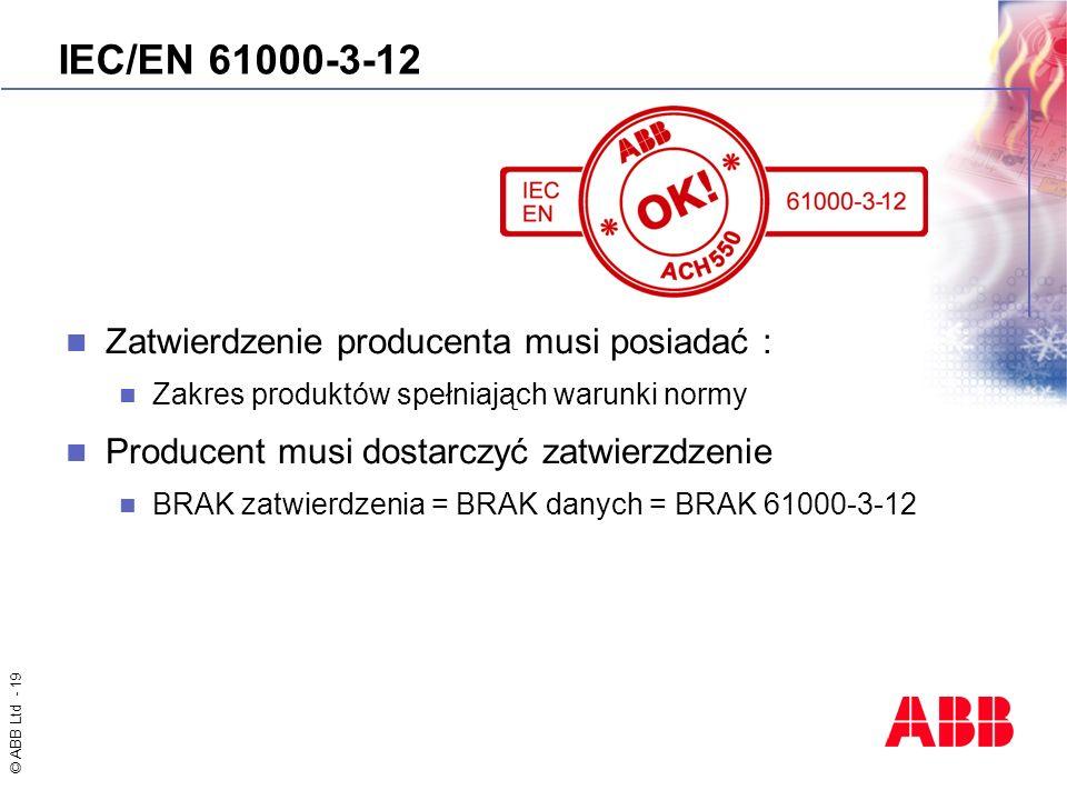 IEC/EN 61000-3-12 Zatwierdzenie producenta musi posiadać :