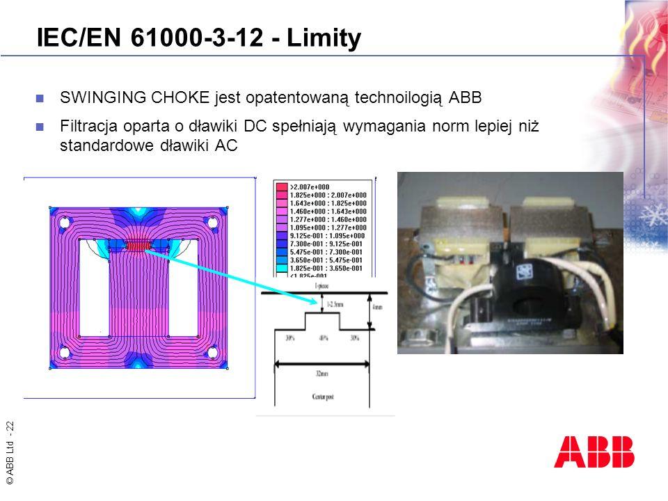 IEC/EN 61000-3-12 - LimitySWINGING CHOKE jest opatentowaną technoilogią ABB.