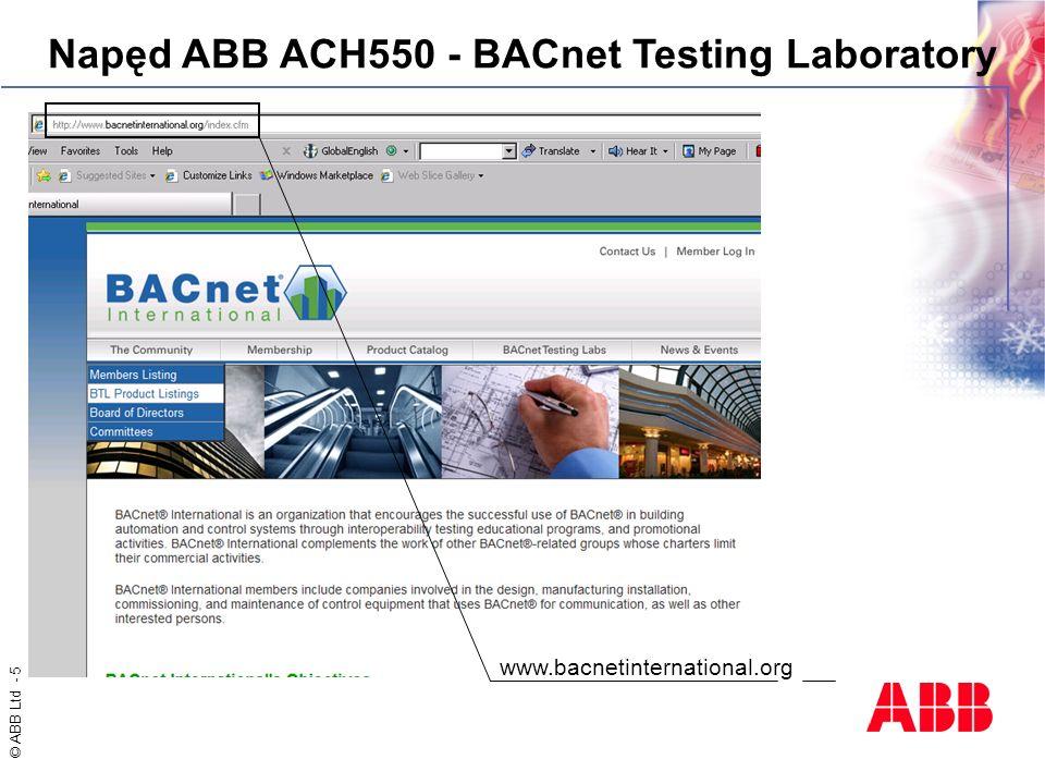 Napęd ABB ACH550 - BACnet Testing Laboratory