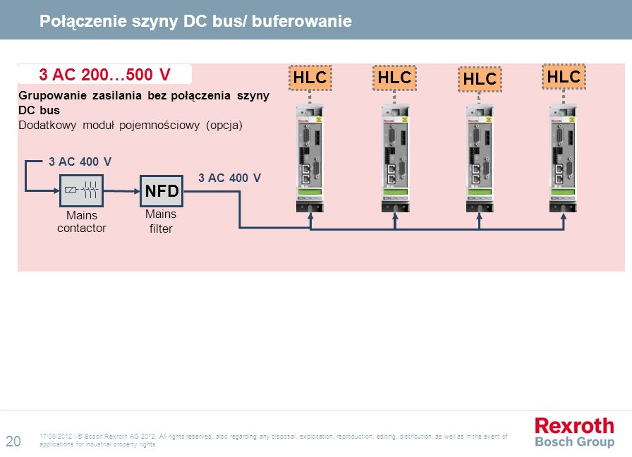 Połączenie szyny DC bus/ buferowanie
