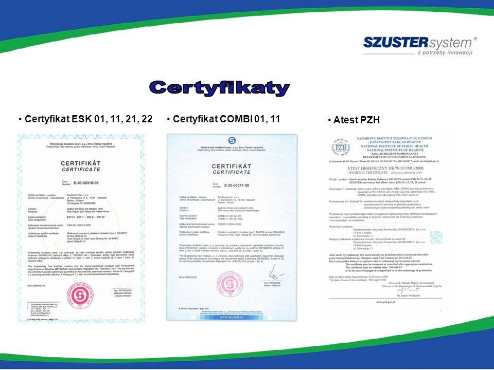Certyfikaty Certyfikat ESK 01, 11, 21, 22 Certyfikat COMBI 01, 11