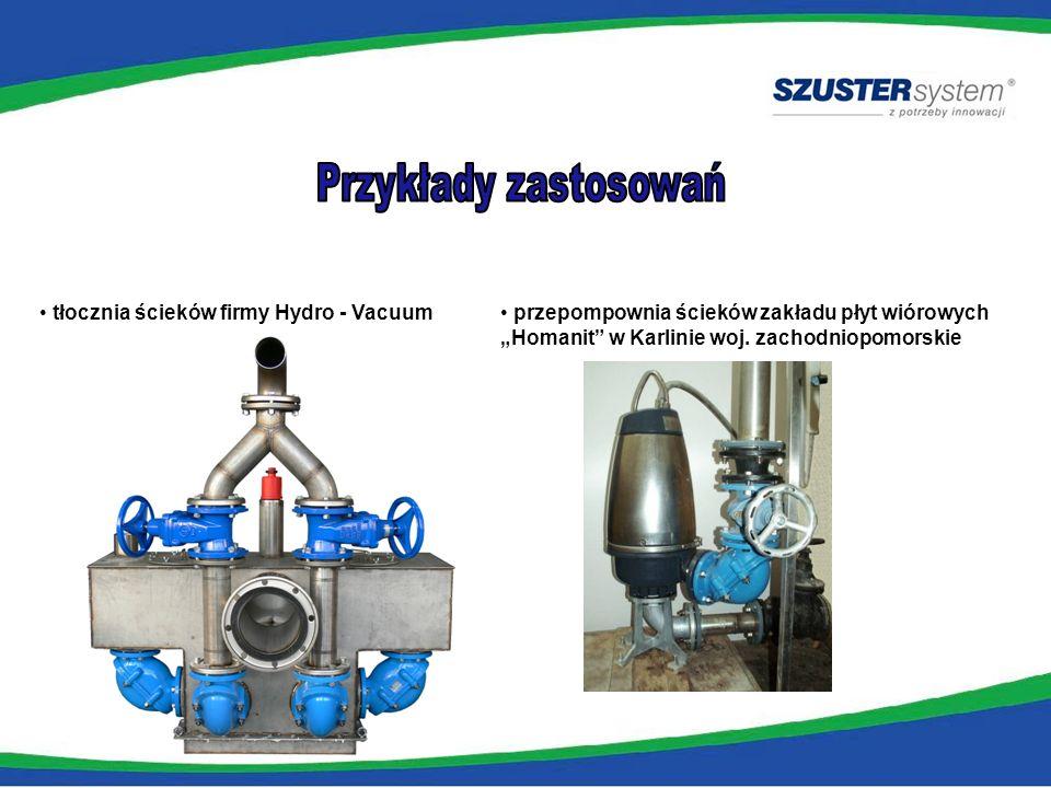 Przykłady zastosowań tłocznia ścieków firmy Hydro - Vacuum