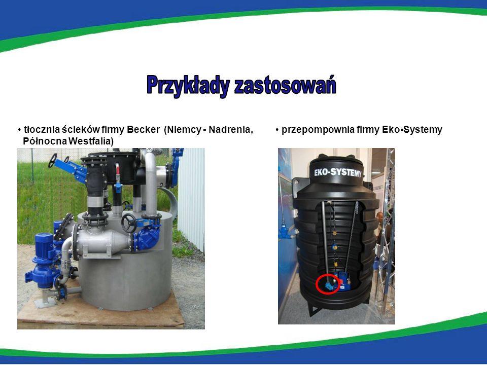Przykłady zastosowań tłocznia ścieków firmy Becker (Niemcy - Nadrenia,