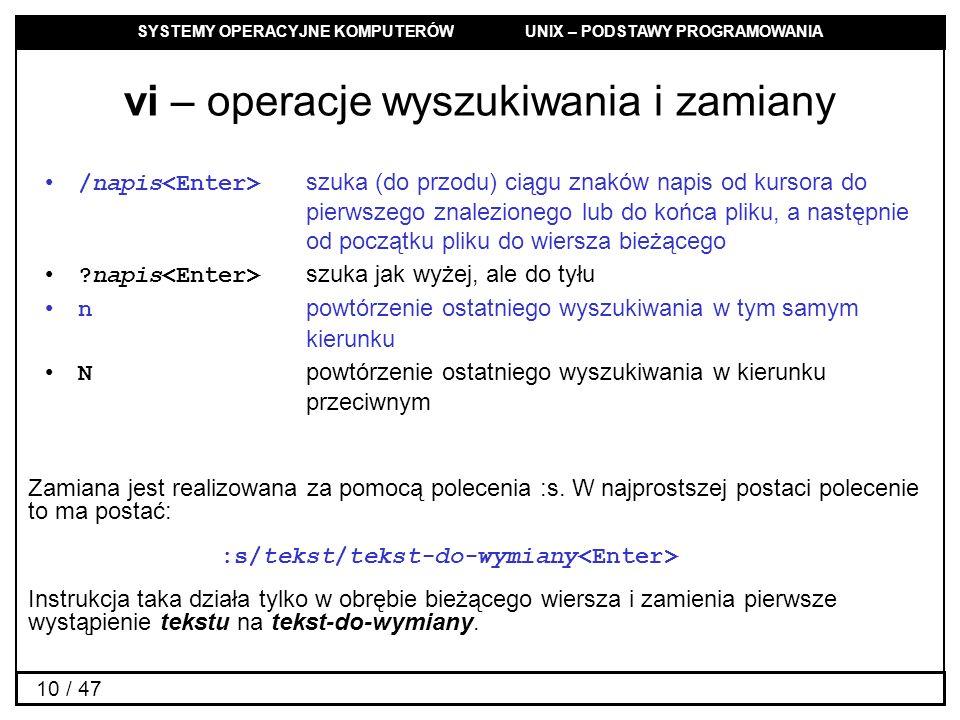 vi – operacje wyszukiwania i zamiany