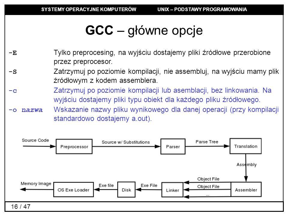 GCC – główne opcje -E Tylko preprocesing, na wyjściu dostajemy pliki źródłowe przerobione przez preprocesor.