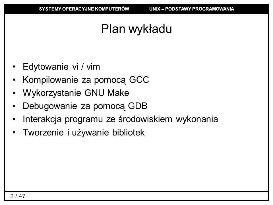 Plan wykładu Edytowanie vi / vim Kompilowanie za pomocą GCC