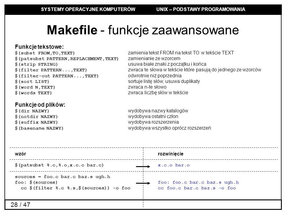 Makefile - funkcje zaawansowane