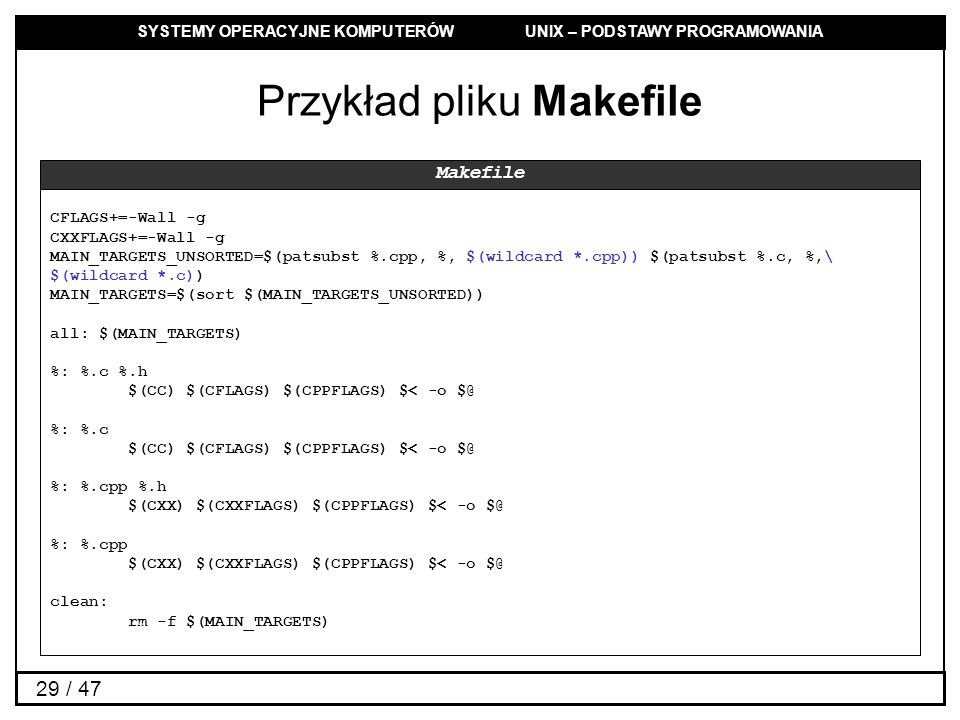 Przykład pliku Makefile