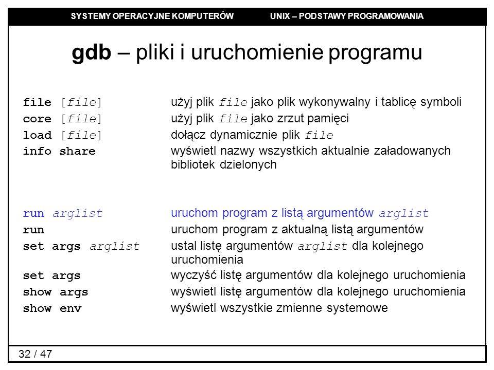 gdb – pliki i uruchomienie programu