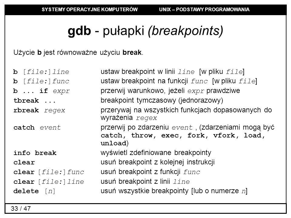 gdb - pułapki (breakpoints)