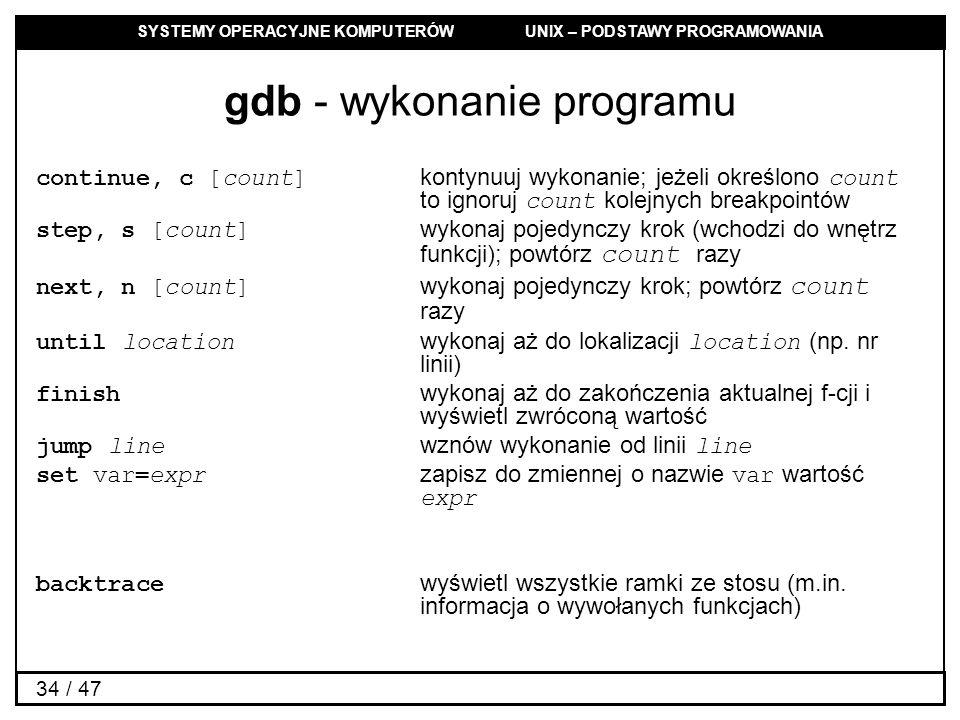 gdb - wykonanie programu
