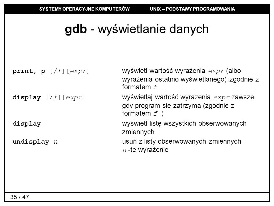 gdb - wyświetlanie danych