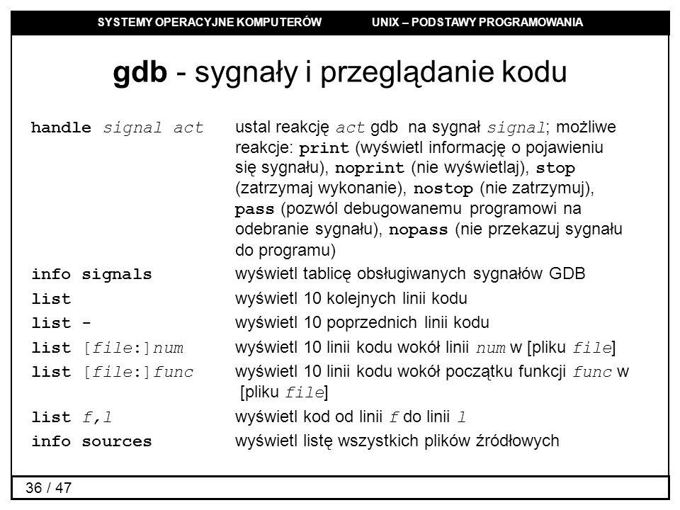 gdb - sygnały i przeglądanie kodu